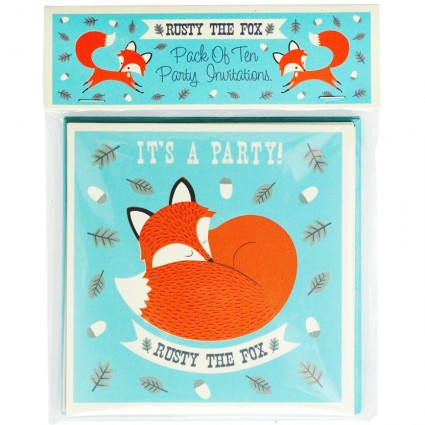 Pack of 10 Rusty party invitations
