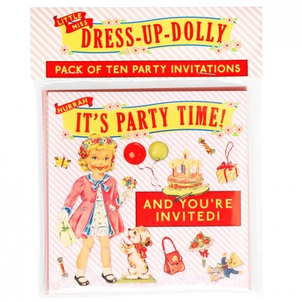 Pack of 10 Dolly party invitations