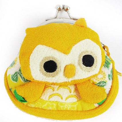 Yellow owl coin purse