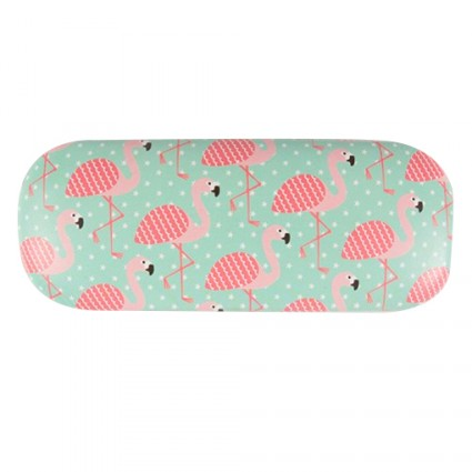 Pink flamingo glasses case