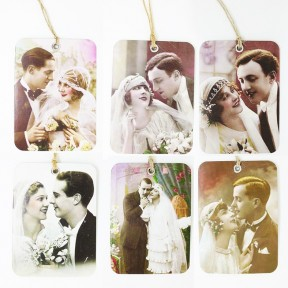 Retro wedding tags