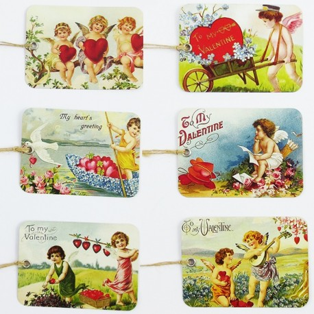 girl & dog vintage tags