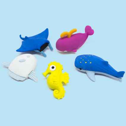 Sea creatures eraser set
