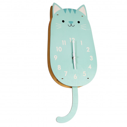 Cat wooden wall clock