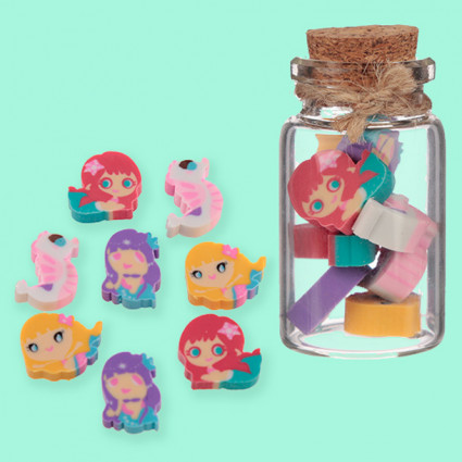 Mermaid mini eraser set