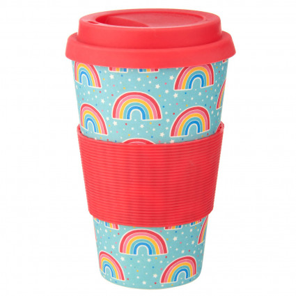 White cat bamboo coffee cup