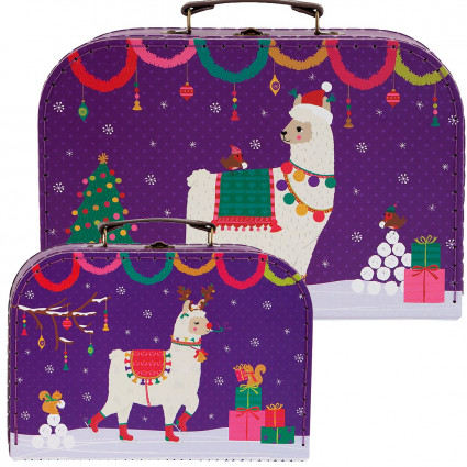 Set of two christmas pudding suitcases