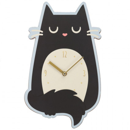 Black cat wooden wall clock