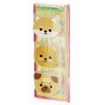 Cat and dogs eraser set