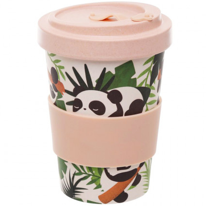 Panda bamboo travel mug
